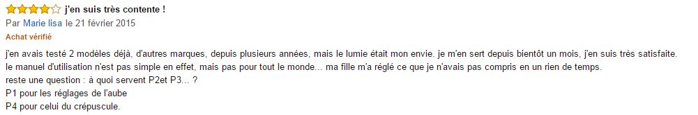 commentaire simulateur d'aube lumie bodyclock 300 Elite